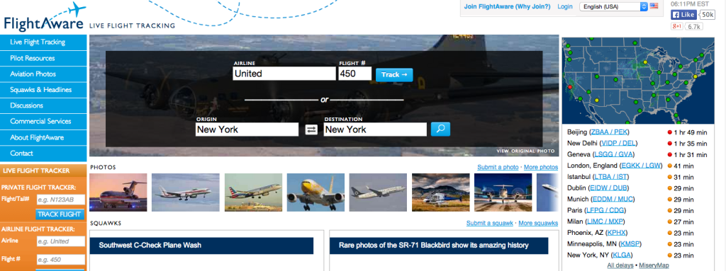 Track delays worldwide with flightaware.com