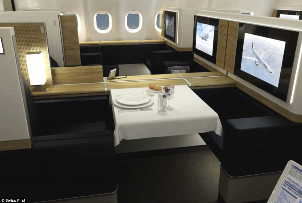 Dining in Swiss First Class