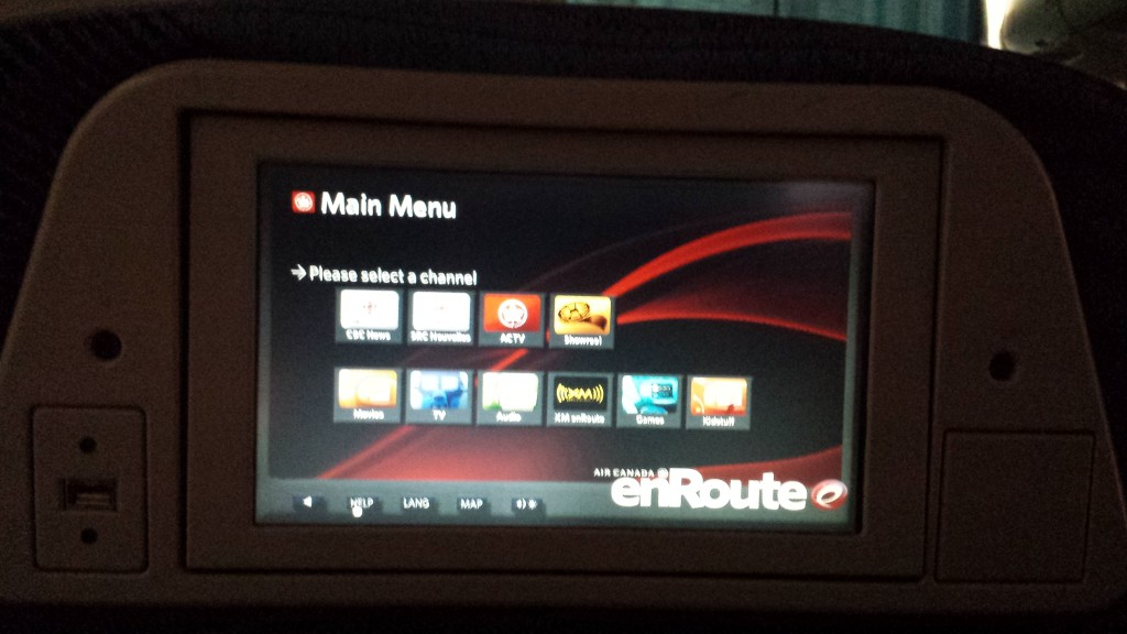 Air Canada Audio Video on Demand screens
