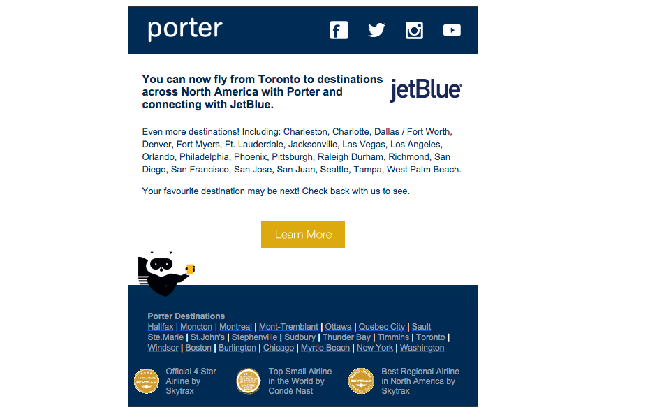 Marketing from Porter Airlines (PD) on its new partnership with JetBlue (B6)
