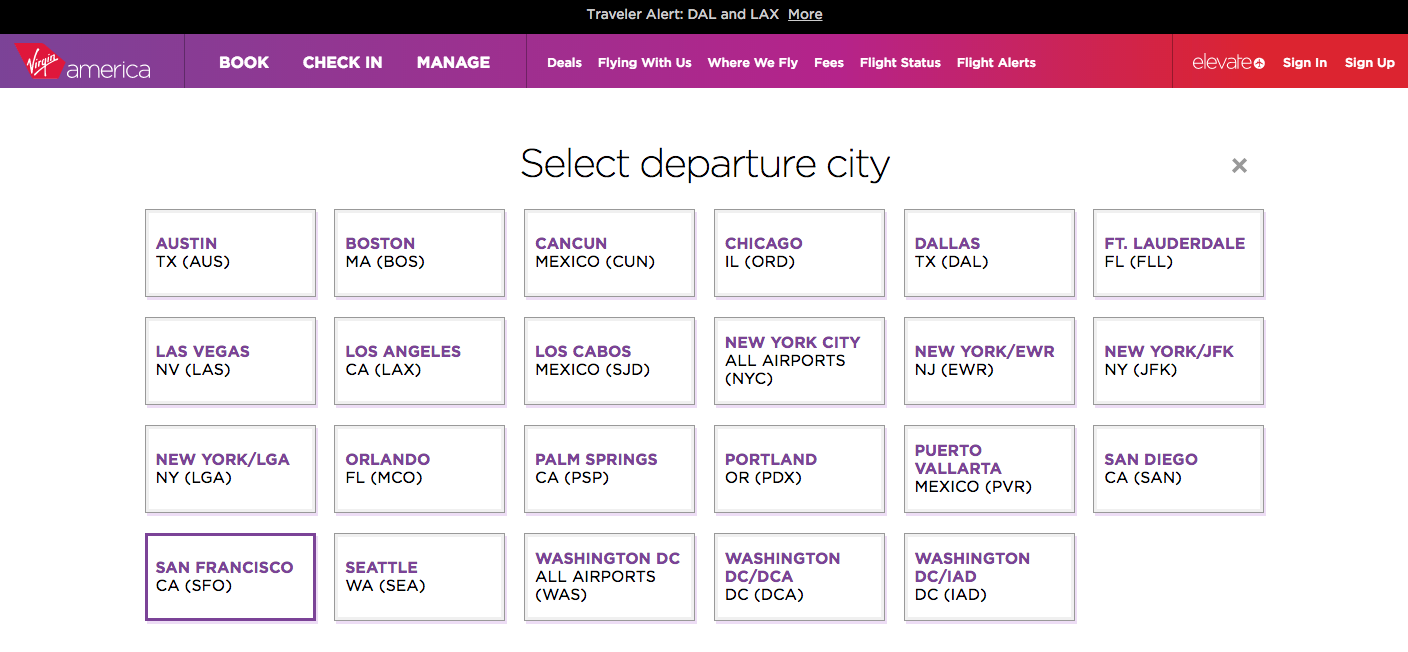 Image taken from Virgin America's website on November 20, 2014 (All Rights Reseved)