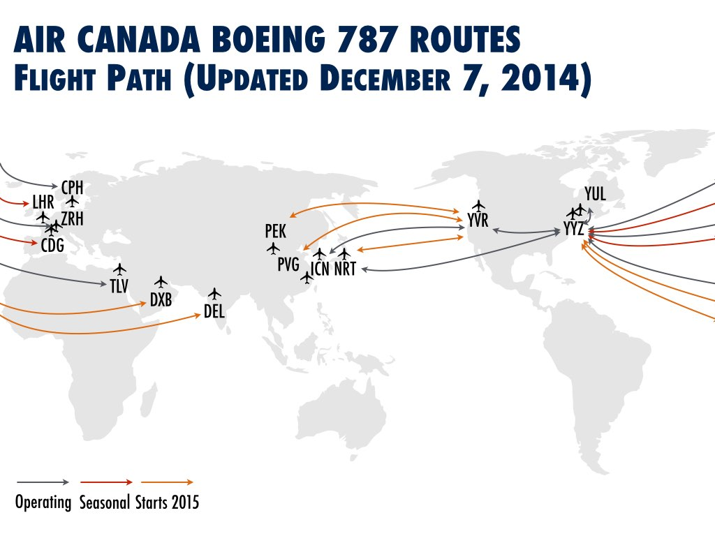 Routes flown / to be flown by the 787. Information taken from Air Canada's website as at December 7, 2014 (All Rights Reserved)