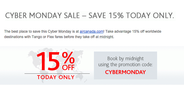 Air Canada Cyber Monday sale details. Information taken from airline email to subscriber on December 1, 2014 (All Rights Reserved)
