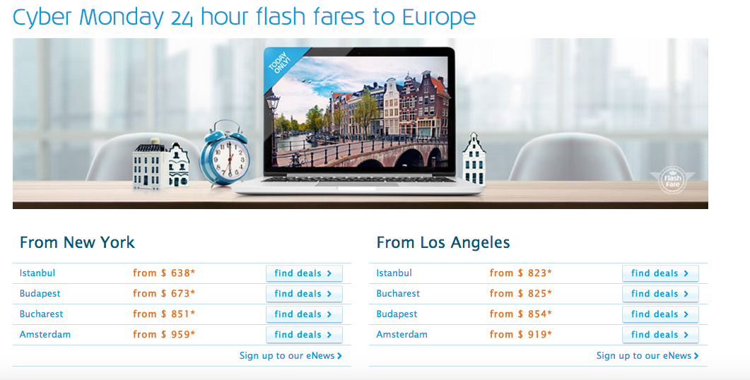 KLM Cyber Monday Deals Information taken from airline's website on December 1, 2014 (All Rights Reserved)