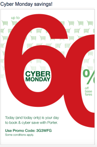 Porter Airlines Cyber Monday Deals. Information taken from airline's website on December 1, 2014 (All Rights Reserved)