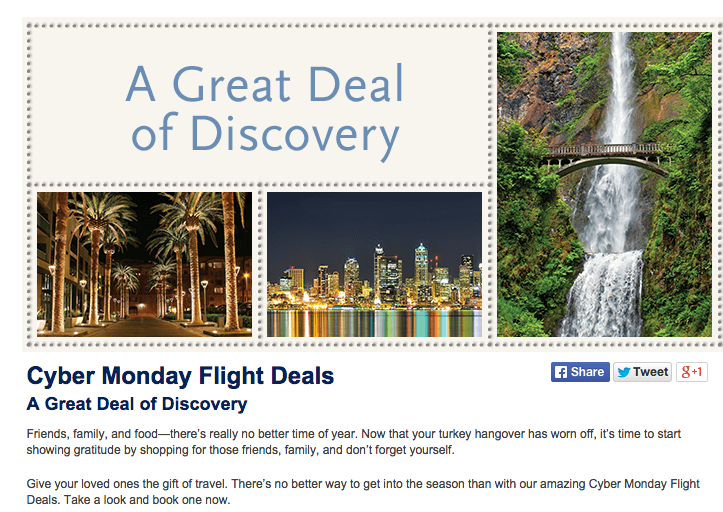 Alaska Airlines Cyber Monday Sale Details . Information taken from airline's website on December 1, 2014 (All Rights Reserved)