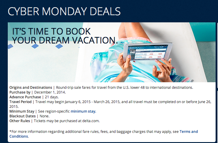 Delta Airlines Cyber Monday Sales Details. Information taken on December 1, 2014 (All Rights Reserved)