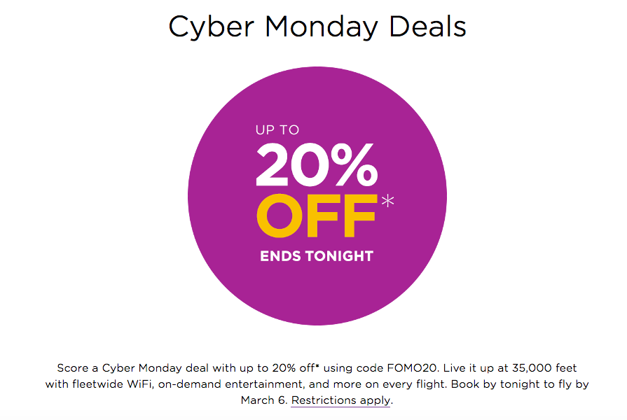 Virgin America Cyber Monday Sales Detail. Information taken from airline's website on December 1, 2014 (All Rights Reserved)