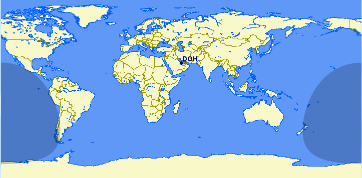 Where can the Airbus A350-900 fly from Doha International Airport (DOH)