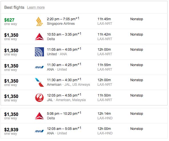 Flights from LAX to Tokyo (both HND and NRT)