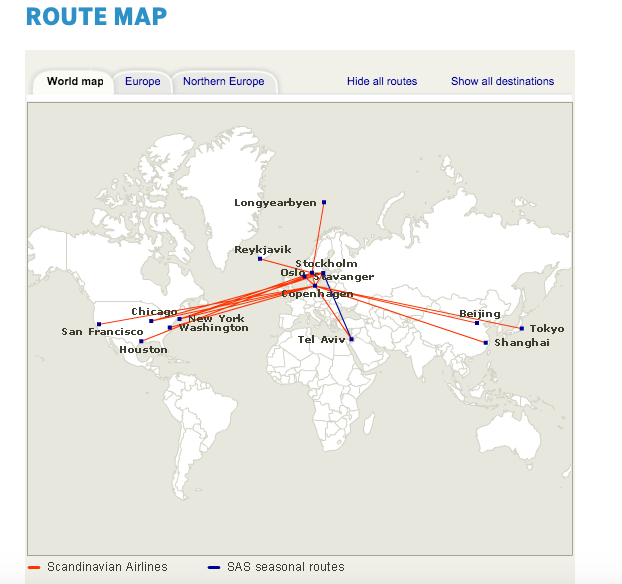 SAS Long Haul Routes