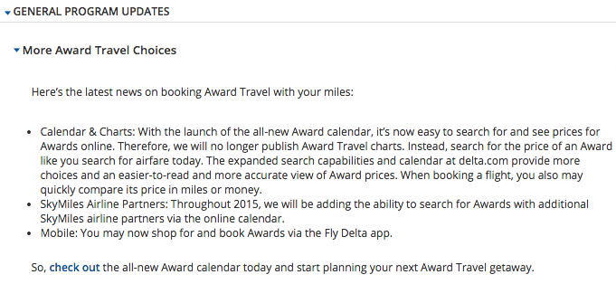 Delta Air Lines General News on Award Travel Chart