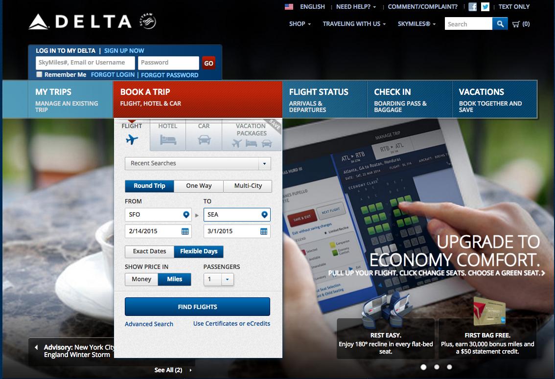 Delta Online Awards Travel Tool