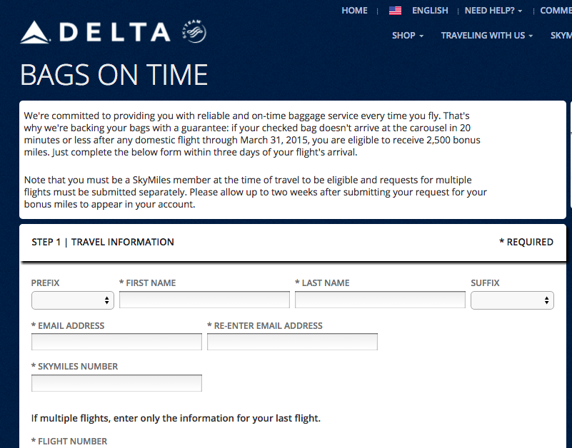 Delta Bags On Time Promotion