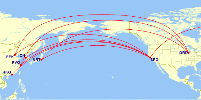 Current routes using a 747-400 United Airlines