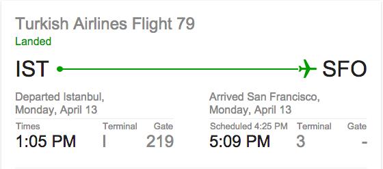 TK79 Istanbul to San Francisco (first flight)