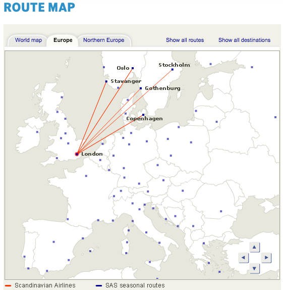 SAS Route Map to London