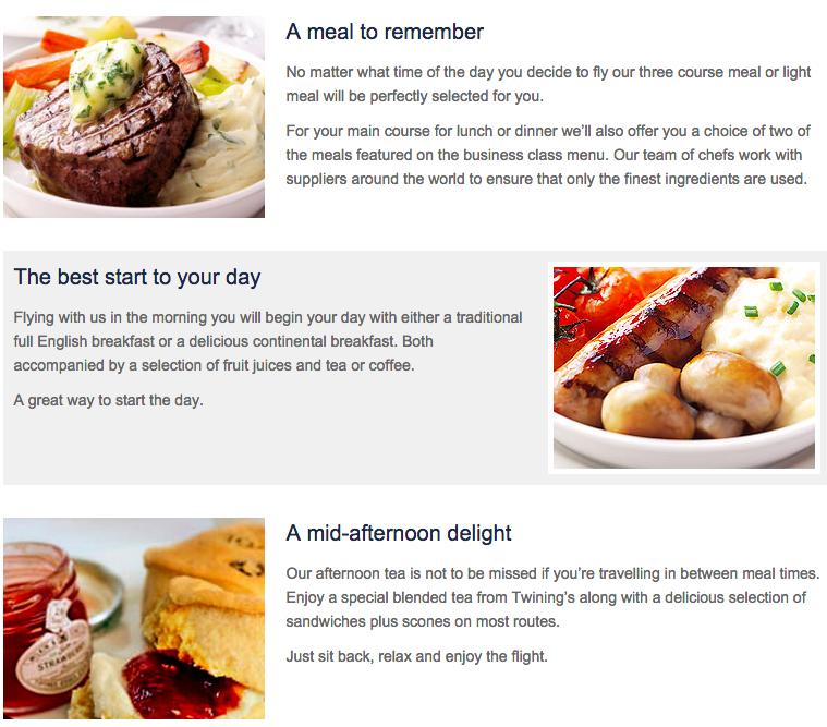 World Traveller Plus Food British Airways