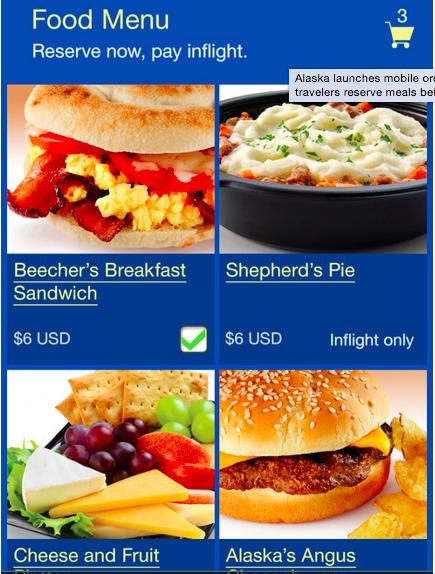 Sample Alaska Airlines Enhanced Economy Meals