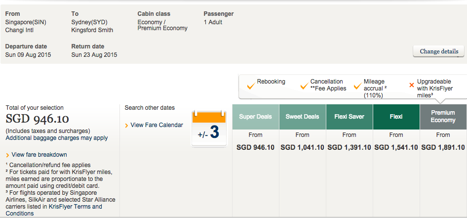 Singapore Airlines fare - Singapore to Sydney Roundtrip example