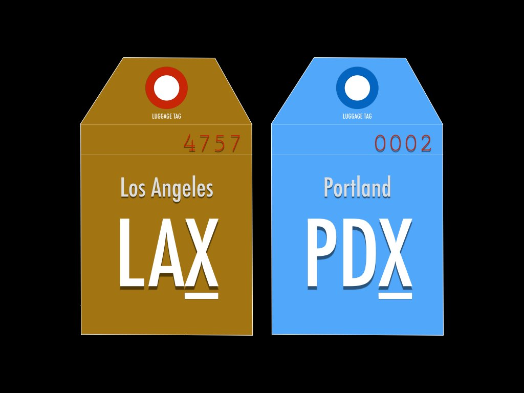 IATA code for Los Angeles and Portland