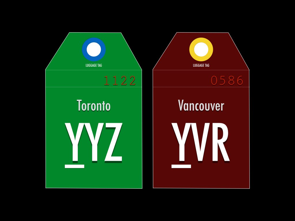 IATA code for Toronto and Vancouver