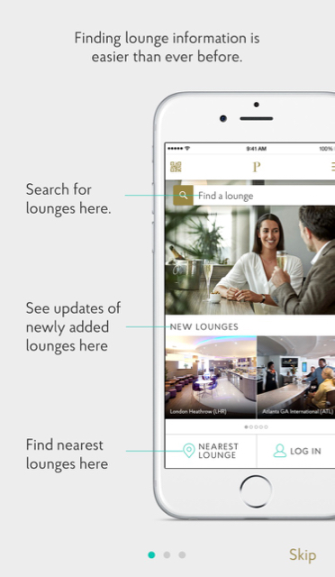 Priority Pass Mobile Application Login Screen