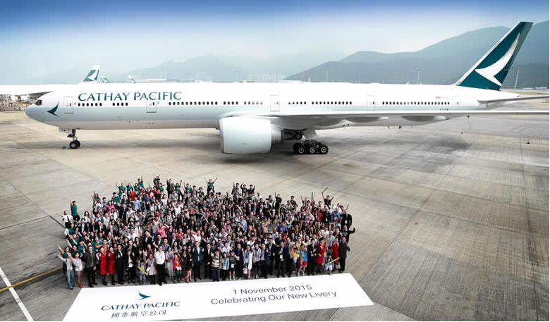 Cathay Pacific Boeing 777-300ER With New Livery (Celebration Hong Kong-November 1, 2015)