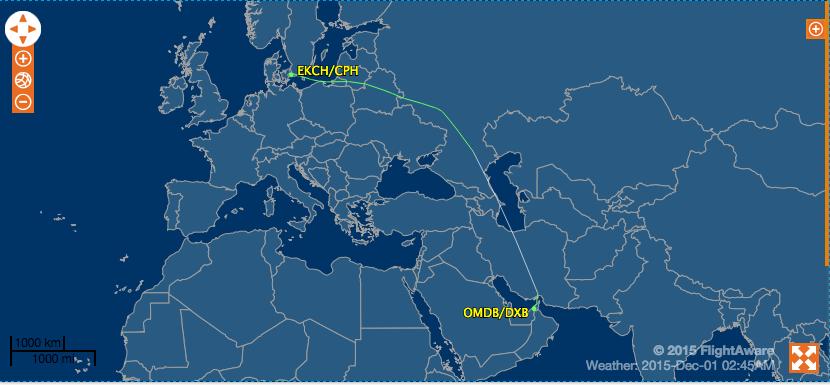 EK151 Dubai to Copenhagen Flight Path