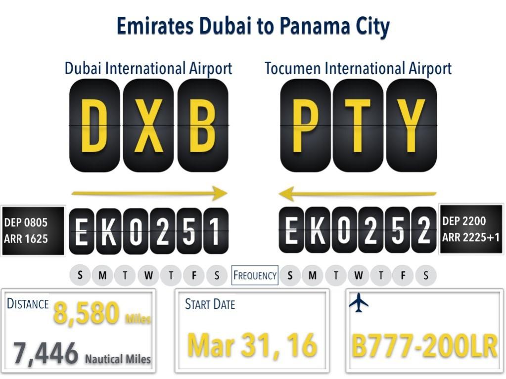 Emirates Dubai to Panama City Flight Details