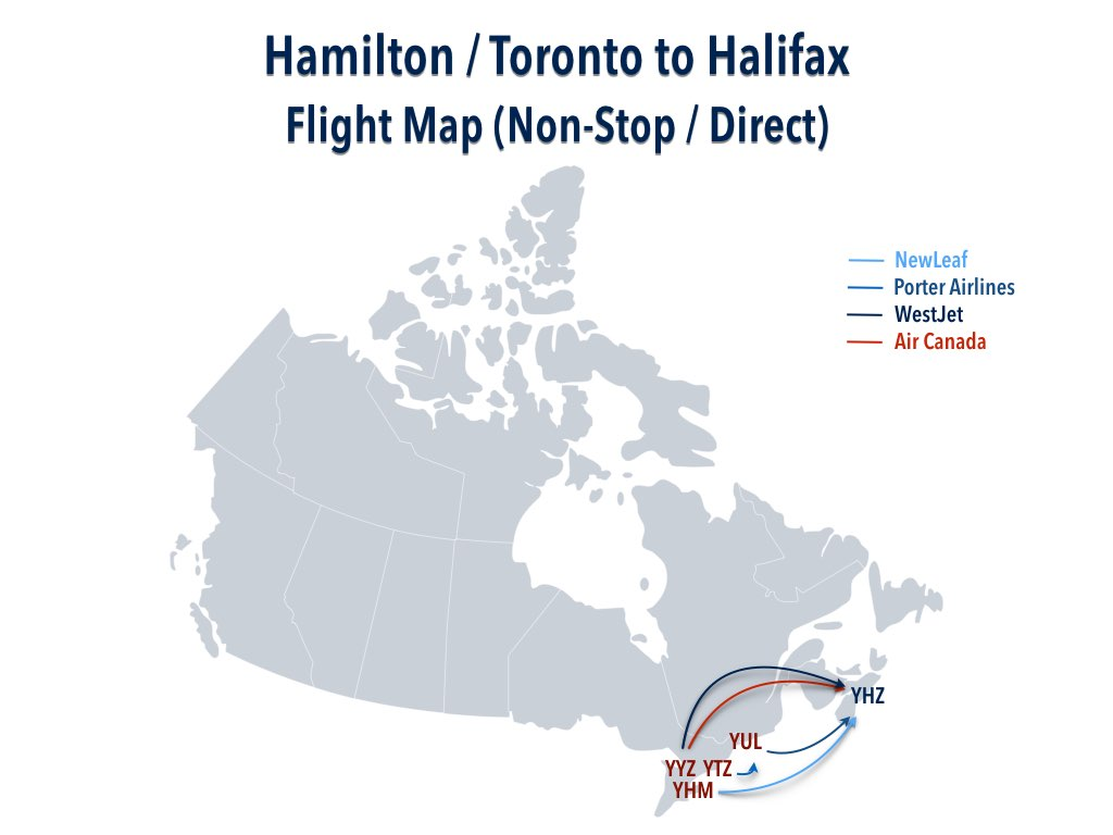 Hamilton : Toronto to Halifax Flight Map