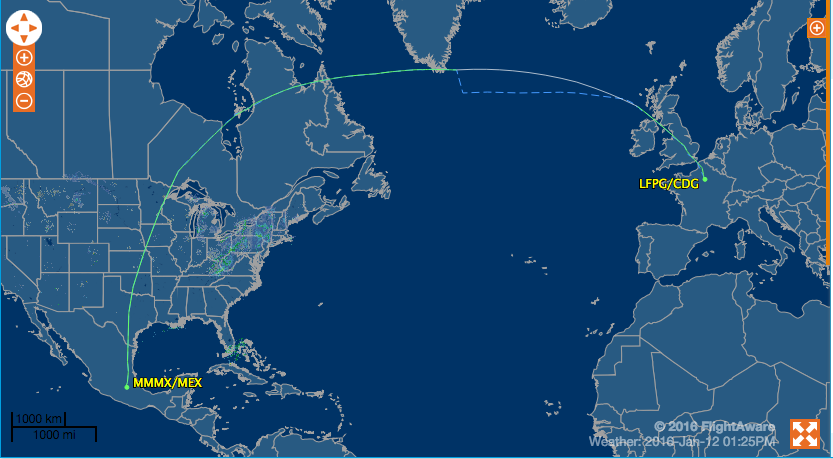 Flight Path AF438 Paris to Mexico City on Airbus A380