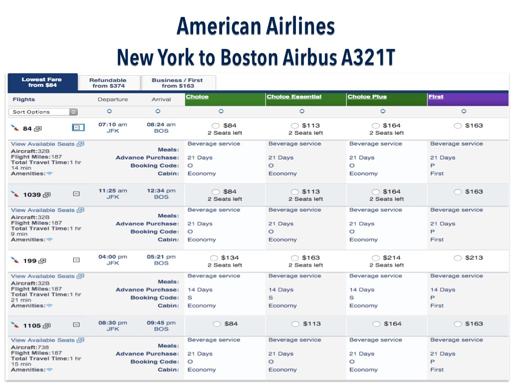 American Airlines New York JFK to Boston Price Comparison for May 3, 2016