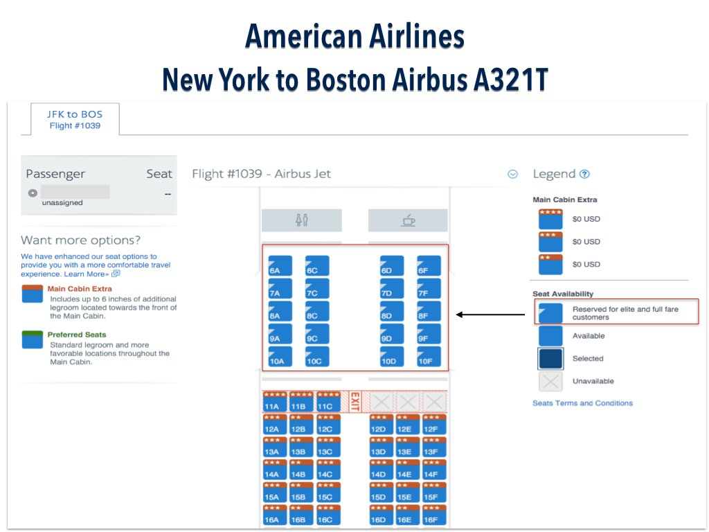 American Airlines New York to Boston on Airbus A321T