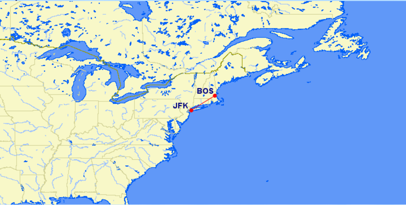 New York JFK International Airport to Boston Logan International Airport Distance