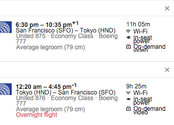 United Airlines San Francisco (SFO) to Haneda (HND)