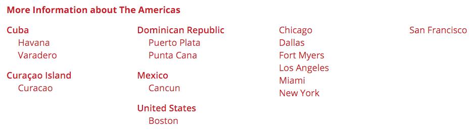 Transatlantic destinationsTransatlantic destinations