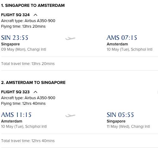 Singapore Airlines Singapore (SIN) to Amsterdam on Airbus A350-900