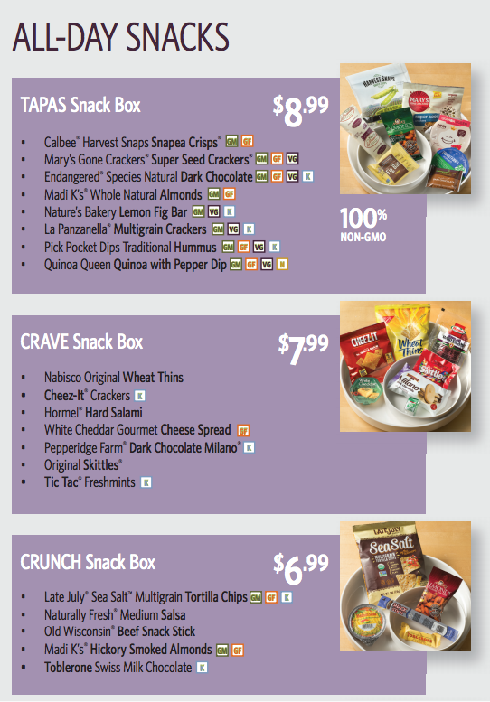 Delta Air Lines Snack Box Menu (Tapas, Crave, Crunch) - Summer 2016