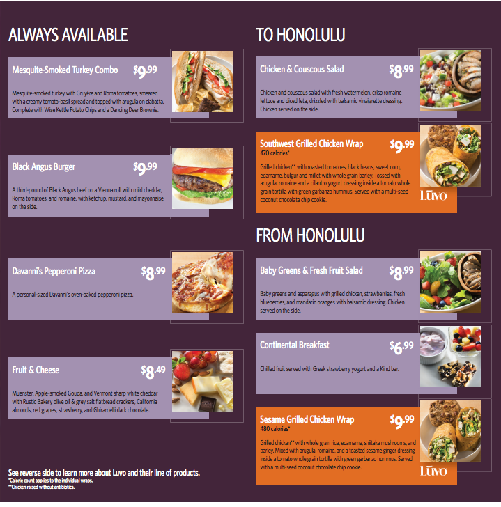 Delta Air Lines Flight Fuel Hawaii Menu (Summer 2016)