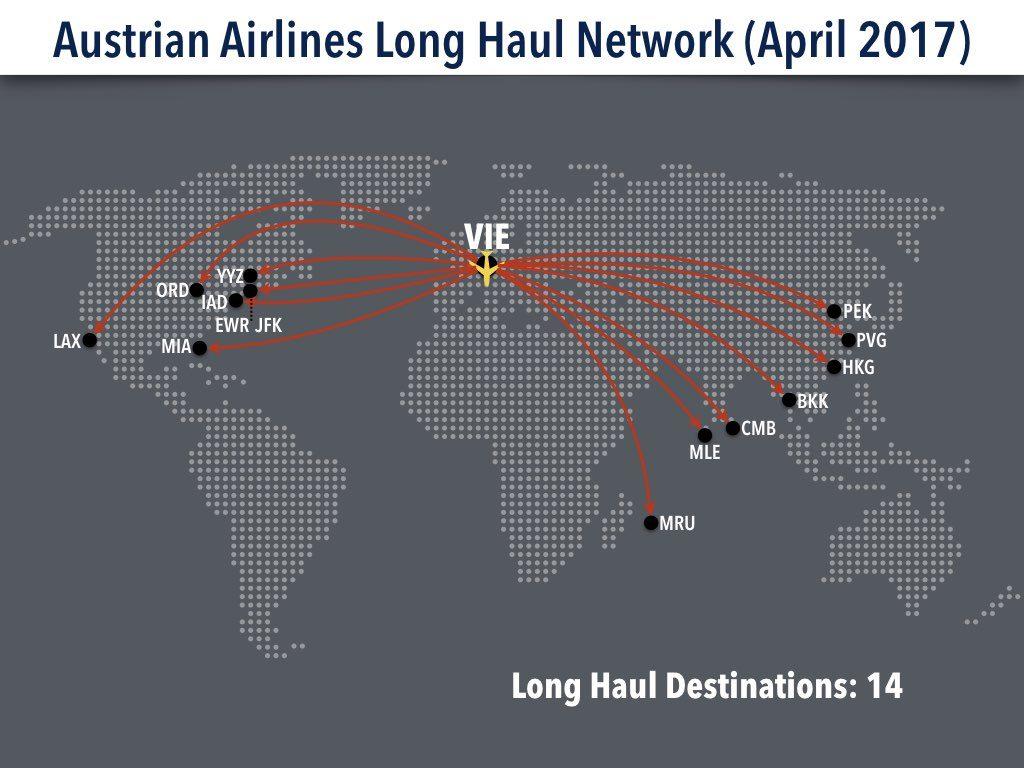 Austrian Airlines Long Haul Route Network (April 2017)