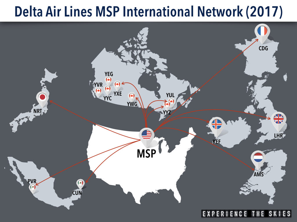 Delta Air Lines Minneapolis-St. Paul International Airport (MSP) International Network (April 2017)