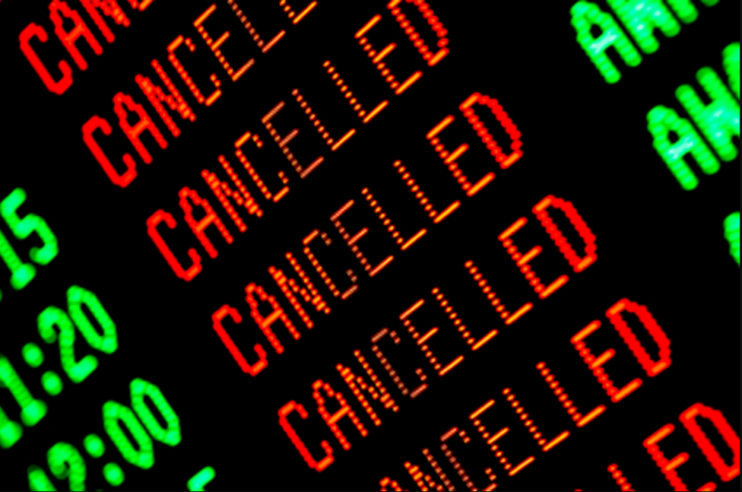 Random Airport Board Cancellation Notice