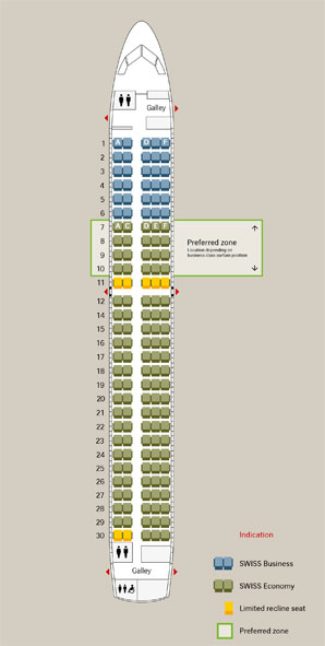 Swiss International Air Lines CS300 Seatplan