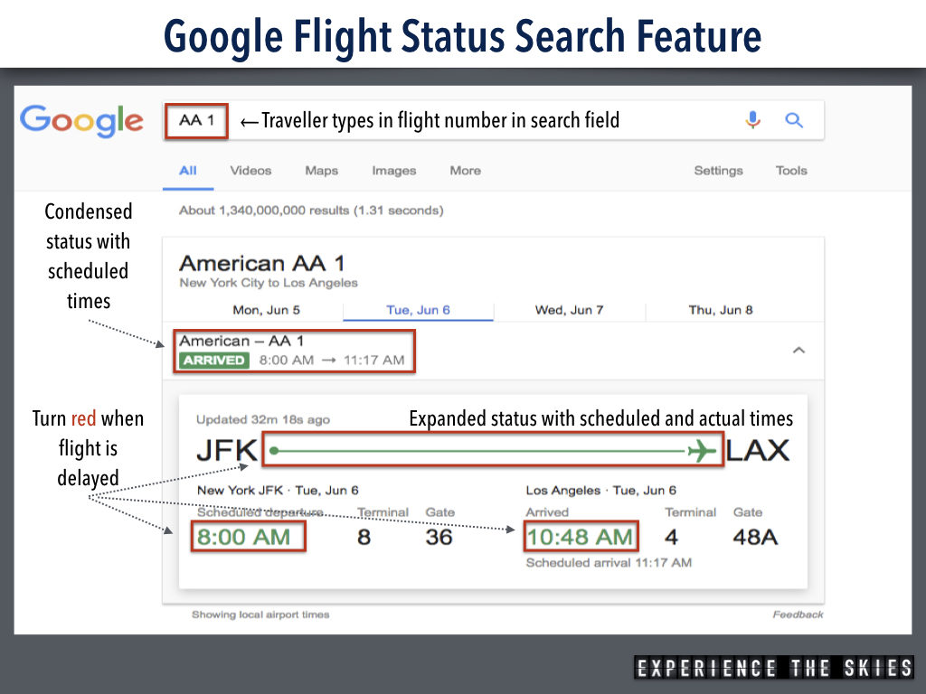 Google Flight Status Search Feature