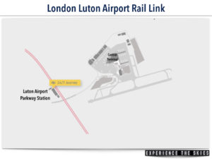 London Luton Airport Rail Link Map (Luton Airport Parkway Stn to Central Terminal)