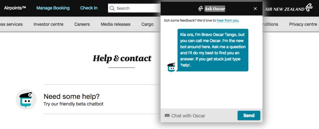 Air NewZealand's Chat Bot - Oscar