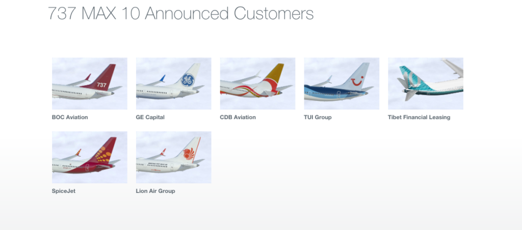 Airlines and Companies with Boeing 737 MAX 10 Orders