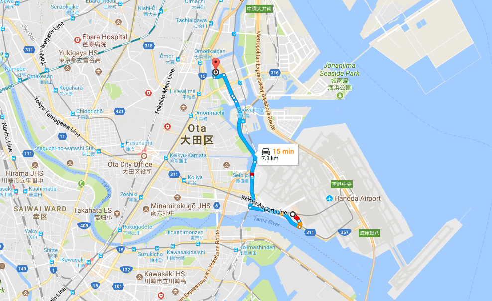 Map from Heiwajima Hot Spring to Haneda Airport (HND)