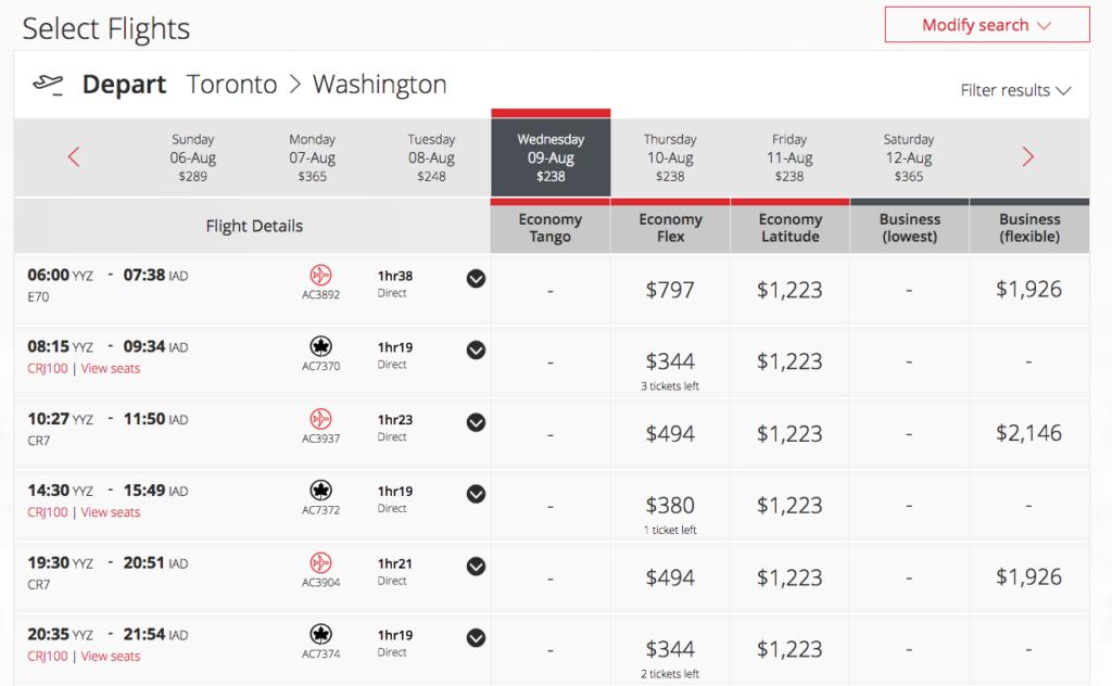 Toronto (YYZ) to Washington DC (IAD) Flights on Sale at aircanada.com